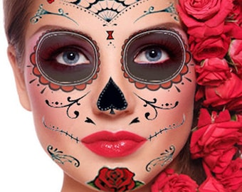 Sugar Skull Temporary Face Tattoo - Red Roses - Day of the Dead - Calavera - Halloween Costume