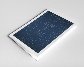 You're A Star Card - Congratulations, Well Done Card, Congrats Card, Graduation Card, Achievement, Thank You Card, Success, Student Card