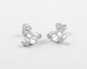 Simona Studs - Three Circle Stud Earrings, Dainty Studs, Modern Earrings, Modern Jewelry, Sterling Silver, Shiny or Matte Finish