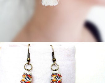 Clearance white/beige/orange  bobo tassel earrings // dangly earrings // boho earrings //gift for her /bohemian / gold earrings