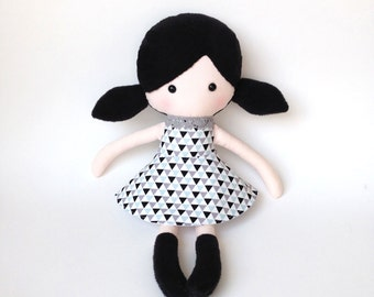 Plush doll - Rag doll - Stuffed toy - Cloth doll -  Fabric doll -  doll softie - Plush doll - sfuffed doll - with black hair