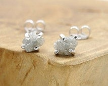 Raw diamond earrings in sterling silver Small rough diamond stud earrings Raw stone jewelry with rough uncut diamonds by Freesize