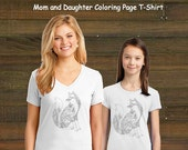 Mommy and Me Coloring Book Page T-Shirt - Mom and Daughter Fox Set