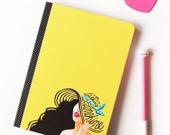 Walking on Sunshine Notebook, Pop Rock Music Gift, Typography Lyrics Art, 80s Pop Song Illustration, Minimalist Design, Fun Sketchbook