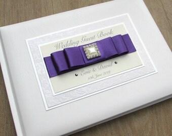 Personalised Wedding Guest Book Engagement Anniversary Birthday Square Pearl Diamante Purple