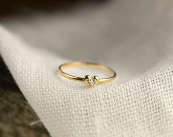 Tiny Heart Diamond Ring, dainty heart ring, dainty diamond ring, valentines day, love ring, 14k yellow rose white gold, hea-r102-dia