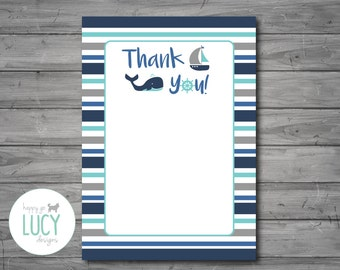 Nautical Thank You Card, nautical baby shower, nautical theme, whale, sailboat, baby shower, thank you, DIGITAL FILE