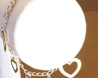 """Sterling Silver Heart charm Bracelet 7 1/4"""""""