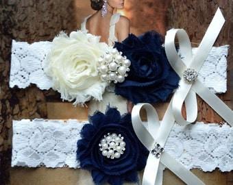 Wedding Garter Set, Crystal Rhinestone Garter Set on a Blue Lace Garter Set with Pearl & Rhinestone