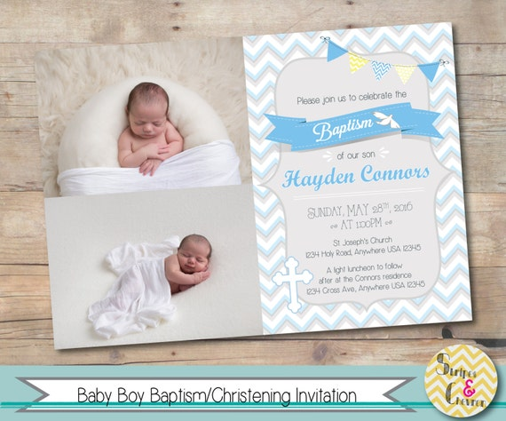 boy baptism invitation personalized christening invite printable