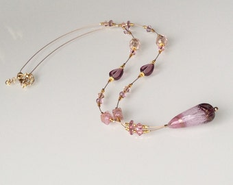 Murano Glass Jewelry, Pink Mauve Long Necklace with Drop Pendant, Venetian Glass Necklace, Italian Jewelry, Bijoux, Collier Rose