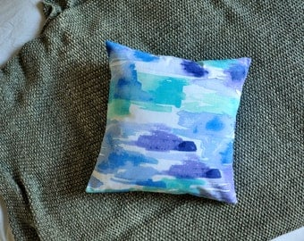 Watercolour Cushion Cover, Throw Pillow Cover, Throw Cushion Cover, Decorative Cushion Cover, Decorative Pillow Cover - Blue Brushstrokes