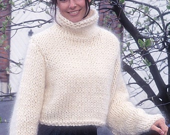 White sweater cropped sweater mohair sweater hand knit sweater knit women sweater wool sweater turtleneck sweater long sleeve chunky sweater