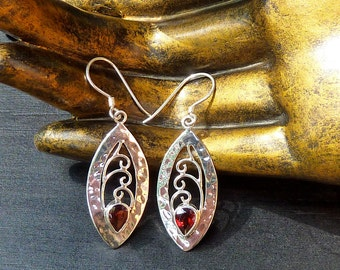 Faceted Garnet Earrings, Garnet Jewelry, Hammered Silver, Filigree Earrings, Sterling Silver Earrings, Garnet Teardrop, Handset Gemstone,Red