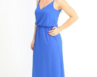 Cobalt blue Maxi Dress Long  Evening Summer Dress Prom Dress