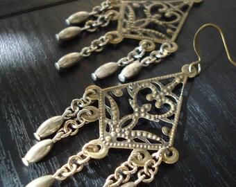 Gold Chandelier Earrings, Gold Filigree Earrings, Silver Chain Earrings, Large Dangle Earrings, Statement Earrings, Boho Jewelry