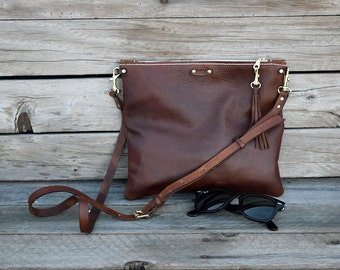Small Crossbody Leather Bag / Fold Over Leather Bag / Convertible Leather Purse / Handmade Bag / Feral Empire / Zipper Clutch