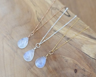 Rainbow Moonstone Necklace, Gold Moonstone Necklace, Rose Gold Moonstone Necklace, Silver Moonstone Drop Necklace, Satellite Chain Necklace