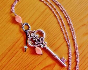 Large skeleton key pendant necklace, huge key pendant, big chunky pendant, bold necklace, royal skeleton key pendant, long boho necklace