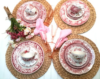 RED and White Transferware Set of mismatched vintage dinnerware