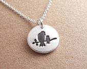 Tiny Mother and Baby Bird Necklace, New Mom Necklace, Mother and Child, Fine Silver, Sterling Silver Chain, Made To Order
