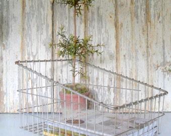 Vintage Wire Basket, Large Wire Basket, Wire Storage Basket, Industrial Wire Basket, Square Wire Basket, Sloped Wire Basket