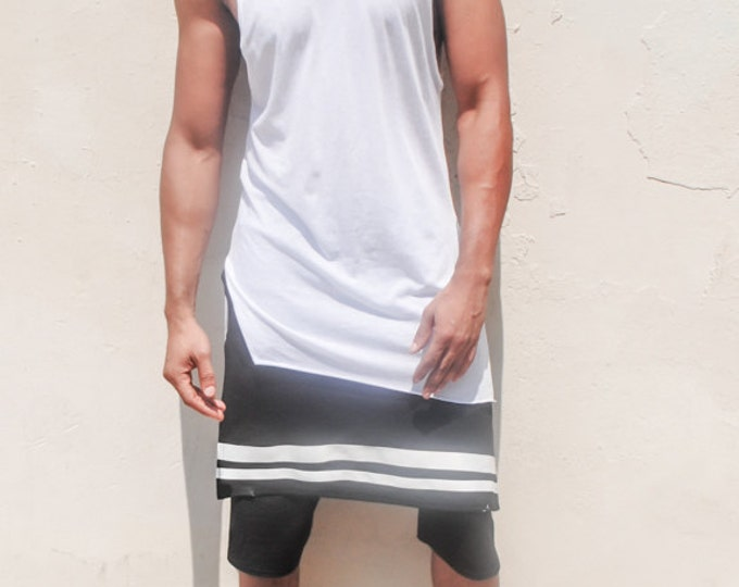 Sleeveless Long Length Hoodie With Side Slits  (Raw Edge Hem)