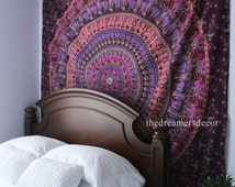 Wall Hanging Tapestry | Bohemian Mandala Queen Hippie Purple Tapestry Indian Fabric Large Bedding Sheet Decor Beach Throw (READY TO SHIP)
