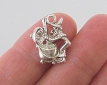 6 pc. Witch and Cauldron charm, 19x16mm, silver finish