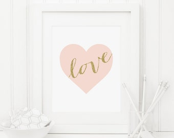 Heart Printable Pink and Gold Nursery Decor Pink Heart Print Girl Nursery Wall Art Love Quote Love Wall Art Shabby Nursery Decor Glitter