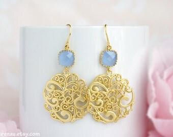 Cornflower blue gold dangle earrings Ice blue glass drop earrings Paisley filigree earrings Something blue pastel wedding cornflower bridal