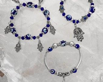 Evil Eye Beaded Bracelets | Choice of Hamsa or Tree of Life Charm