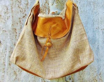 Changing Tides bag - linen & leather