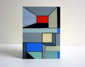 Modern abstract art ACEO, original architectural painting, geometric, primary colors
