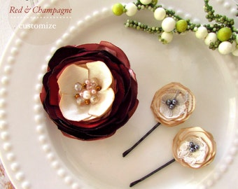 Burgundy Wedding Wine Flowers Hair 3 Piece Champagne Rose Blush & Maroon Hair Clip, Small Silk Satin Flowers for hair, Dress Pin Floral
