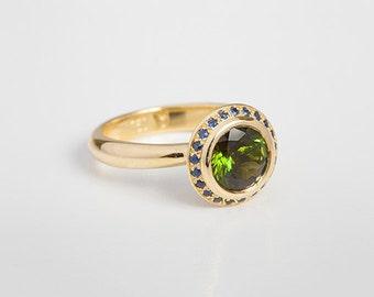 Round Green Tourmaline Ring & Blue Sapphire Ring | Women Statement Ring, Facet Tourmaline 18k Gold Women's Ring Custom Size