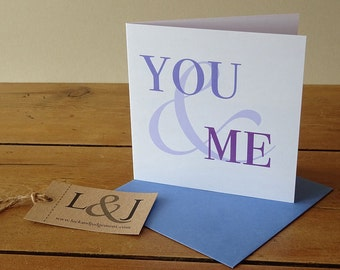 Romantic Card - You And Me - Love Card - Anniversary Card - Romance Card - Engagement Card - Romance Cards - Wife Anniversary - Valentines