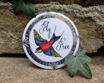 Swallow Illustrated Pocket Mirror 'Fly Free'