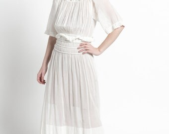 Edwardian White Cotton Sheer Tea Dress with Ruched Waist | XS