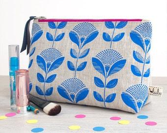 Large makeup bag with abstract dandelion print