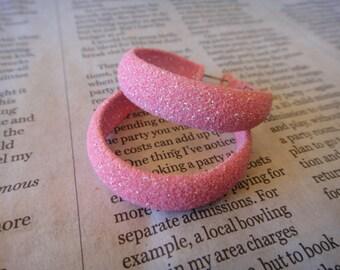 Beautiful Pink Glitter Hoop Earrings PINK Earrings pierced ears