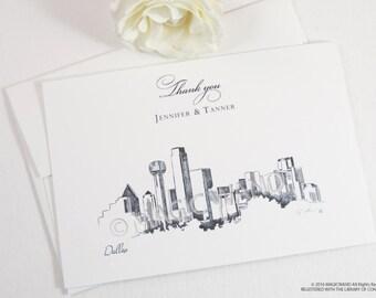 Dallas Skyline Wedding Thank You Cards, Personal Note Cards, Bridal Shower Thank you Cards (set of 25 cards)