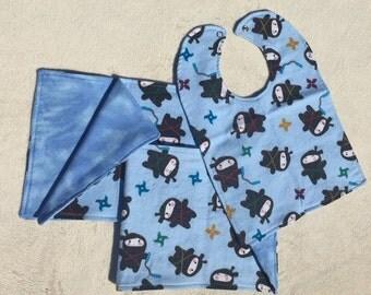 Baby Gift Set, Ninjas, 1 Bib and 2 Burp Cloths, Reversible