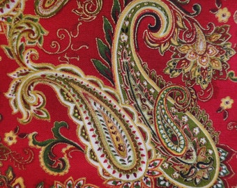 Christmas Splendor by Color Principle for Henry Glass, green, red, metallic gold with a red background
