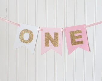 Gold White, Pink Ombre ONE High Chair Banner Happy Birthday Banner/ Girl Birthday/ Princess Party/ Party Decorations/1st birthday