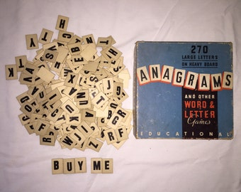 """Vintage Anagrams Word & Letter Game 220 1"""" x 3/4"""" Cardboard letters with orginal box"""