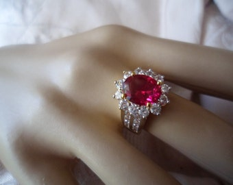 Antique Victorian Vintage 18K Gold Ring with Ruby and Sapphires ring size P