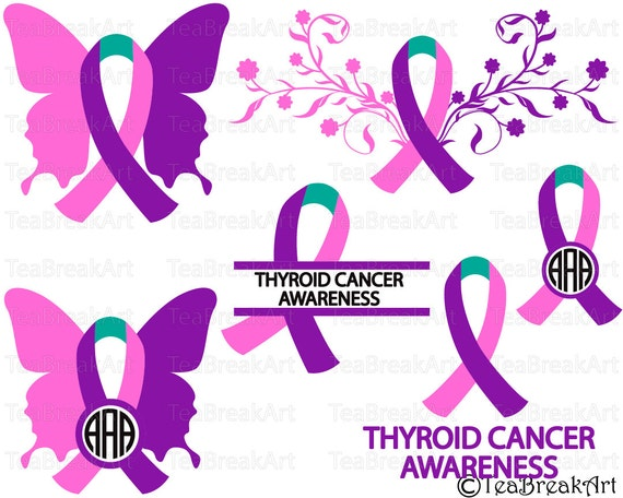 Thyroid cancer ribbon awareness Cutting Files SVG PNG ClipArt