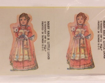 Vintage SchoolDay Mary had a Little Lamb. 8 Sealed Stickers