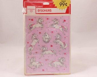 Vintage Hallmark Valentine Horse Sealed Sticker Package. 4 Sheets